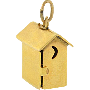 "Retro 14kt & Enamel ""SAM AND LEW"" Moveable Outhouse Charm"