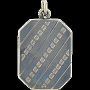 Victorian Silver Niello Stripes & Squares Locket