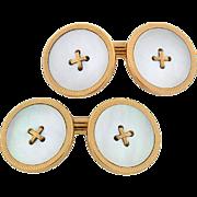 KREMENTZ Victorian Mother of Pearl Button Cufflinks