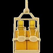 """Retro 14kt """"Scotch & Rye"""" Miniature Whiskey Bottles Charm"""
