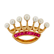 Early Retro 14kt Yellow Gold Ruby & Pearl Crown Pin