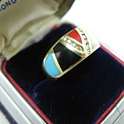 14k  Diamond,Turquoise, Onyx, Coral, Pearl, Malachite Ring