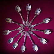 "SOLD Sterling Silver (12) Ice Cream Forks ""LILY"" by Whiting"