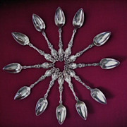 """SOLD """"LILY"""" by Whiting 12 Sterling Silver Grapefruit/Citrus Spoons"""