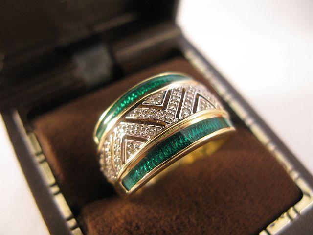 14K Gold, Diamond & Green Enamel Ring / Band