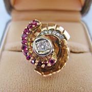 SALE 14K Rose Gold /Platinum Ruby, Diamond Ring