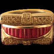 14K White Gold, Ruby & Diamond Estate, Designer Ring