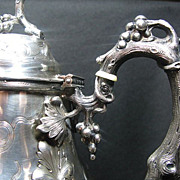 Antique, Vanderbilt,Coin Silver Water/Coffee Pitchers by Canfield