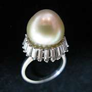 SALE Platinum Art Deco South Sea Pearl and Baguette Diamond Ring