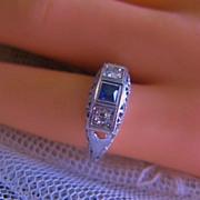 Art Deco 18K Diamond & Sapphire Ring