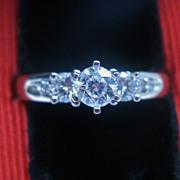 European cut Diamond Trilogy Engagement Ring