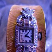 Platinum Diamond & 14K Yellow Gold Bangle Bracelet Watch