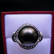 Platinum Black Tahitian Pearl Diamond Ring by Kabana