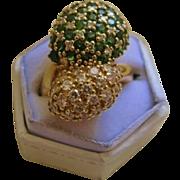 Estate 18K Yellow Gold Tsavorite Diamond Ring