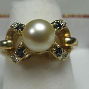 Pearl Diamond Sapphire Cocktail Ring