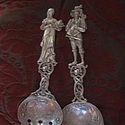 REDUCED Antique Sterling Figural Serving Fork Spoon Set