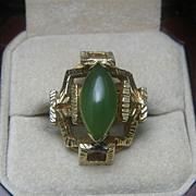 14K Gold Bamboo Jade Ring