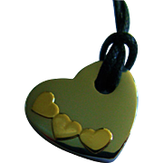 REDUCED 14K Gold and Stainless Steel Heart Necklace