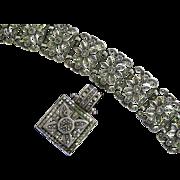 Sterling Silver Flower Marcasite Bracelet & Necklace Set