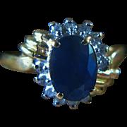 Sapphire & Diamond Halo Ring (14K Yellow Gold)