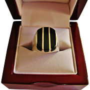 REDUCED Handsome Vintage Onyx Sterling Silver Ring