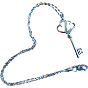 SALE Sterling Silver Diamond KEY Necklace