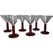 Set 6 Ruby Stemmed Martini Glasses