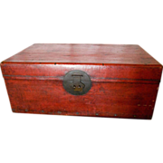 Antique Chinese Red Pigskin Chest, mid 19th c.