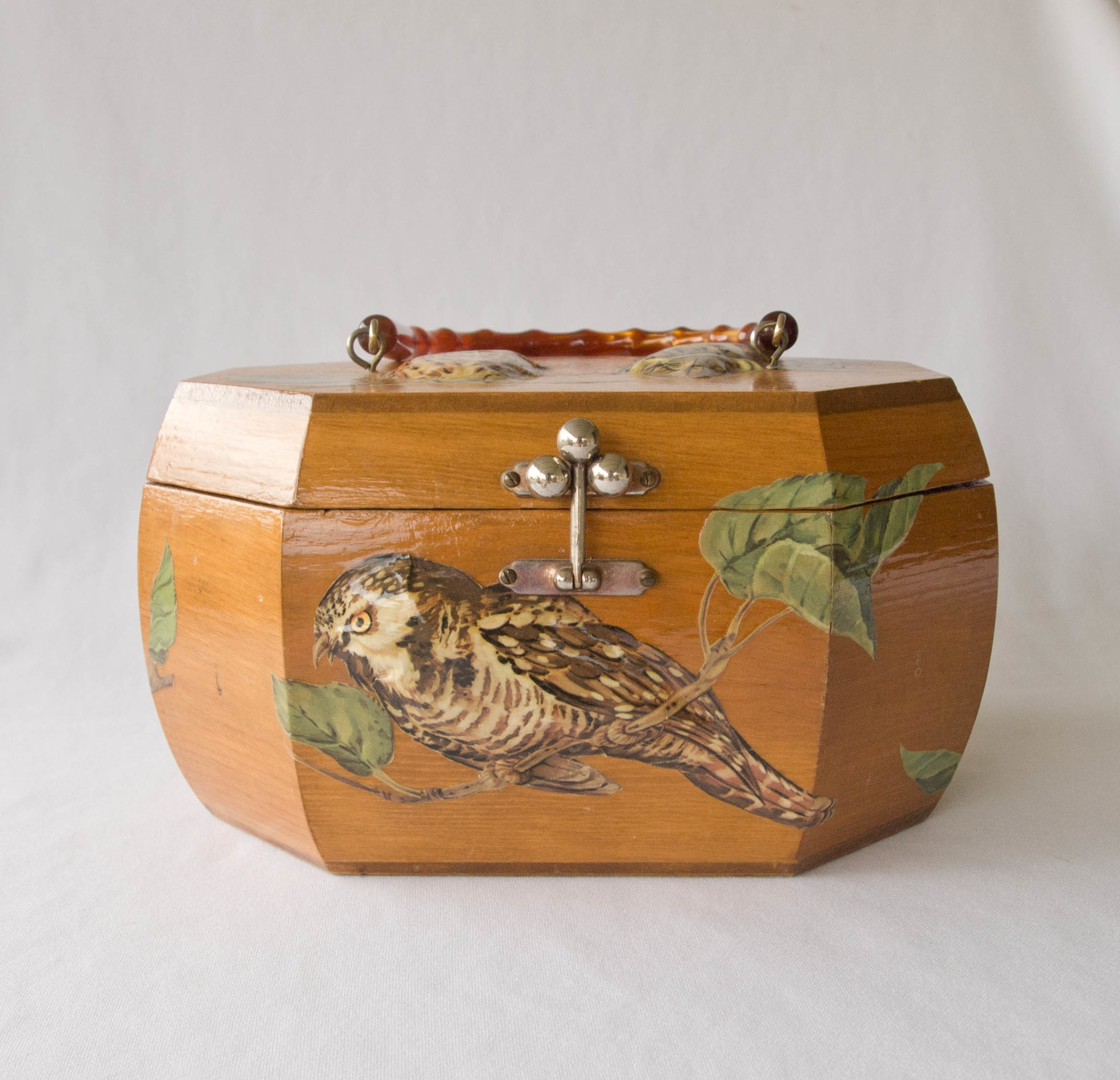 Vintage 1970 S Wood Purse With Decoupage Owls From