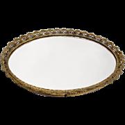 Delicate Gilt Edged Mirror Vanity Tray