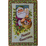 Vintage Santa Postcard, Purple Suit