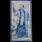 Large Portuguese Delft Tile with Saint