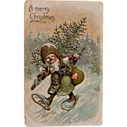 Early Father Christmas Postcard, Green Suit with Snow Shoes