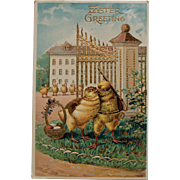 Unusual Easter Soldier Chicks Postcard,Germany,1911