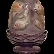 SOLD Fenton Purple Tint Koi Fish Painted Fairy Lamp, Mint