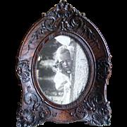 Victorian Carved Dark Oak Picture Frame