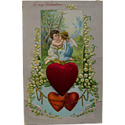 Valentine Postcard with Satin Heart and Angel