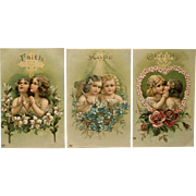 SOLD Set 3 Faith, Hope, Charity Embossed Postcards