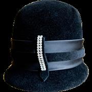 Women's 1960's Roma Black Hat w/Rhinestone