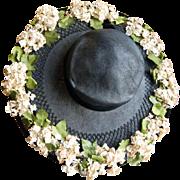 Vintage 1930's Black Woven Wide Brim Hat w/Flowers