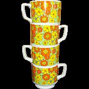 Set of 4 1970's Coffee Mugs, Japan