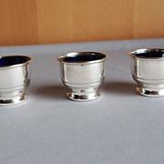 REDUCED Set of 3 Sterling and Cobalt Salt Cellars