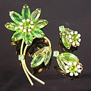 SALE Translucent Apple Green Open-Backed Rhinestone Flower Brooch & Earrings