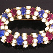 SALE Red, White & Blue Rhinestone & Milk Glass Brooch