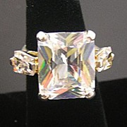 SALE Giant Faceted Glass and Kite-Shaped Baguettes Ring