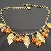 SALE Brass Leaves and Faceted Amber Colored Glass Crystal Dangles Circa 1930's Necklace