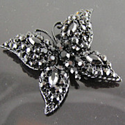 SALE MJ Ent Black Faceted Rhinestones Japanned Butterfly Brooch