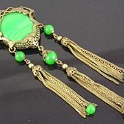 SALE Art Nouveau Malachite & Onyx Pendant