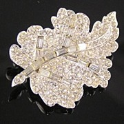 SALE Gorgeous Baguette Rhinestone Leaf Brooch