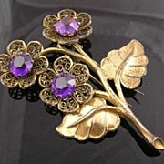 SALE Pretty Purple Rhinestone Circa 1940's Flower Fur Clip